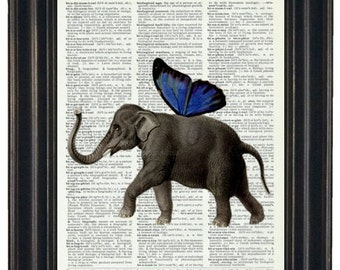 BOGO SALE Wall Decor Upcycled  Dictionary Book Print Elephant with Blue Wings on Vintage Dictionary Page  HHP Original Design and Concept
