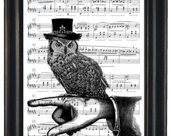 Music Page Print or Dictionary Art Print Steampunk Owl Print Wall Art  Dictionary Art Dictionary Print HHP Original Concept and Design