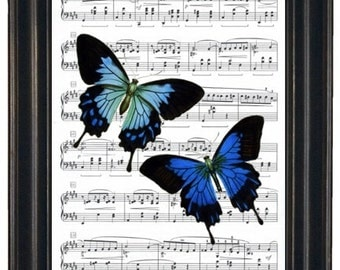 BOGO SALE Music Art Prints or Dictionary Art Prints Butterfly Art Print Butterfly Dictionary Art Print Book Page Upcycle Wall Art 8 x 10