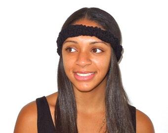 Braided Headband, Spring Headband, Thin Braided Headband, Teen, Women, Black