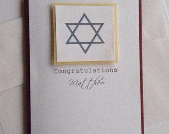Bar Mitzvah Card, Custom Bar Mitzvah, Greeting Cards Handmade, Star of David, Congratulations Card, Mazel Tov, Jewish Star