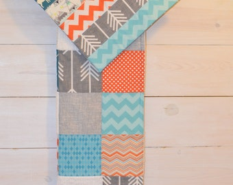 Sly Fox - Large Patchwork Baby Blanket / Quilt You Pick Colors, Fabrics and Theme -  Aqua, Orange, Teal and White Fox