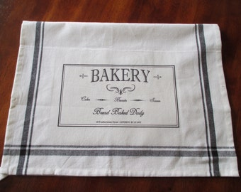 Vintage Chic Old English Typography Bakery and Butcher Kitchen Towels: Can Be Personalized, 100% Cotton, Unique, Red Blue Black