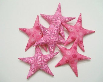 6 Pink Fabric Stars Ornaments Bowl Fillers Breast Cancer Awareness