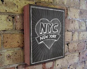 New York Art - Chalkboard Art - New York City State Art - Wood Block Wall Art Print - NYC Art Print