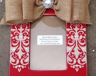 4x6 Red frame with khaki damask jeweled sides with burlap jeweled bow