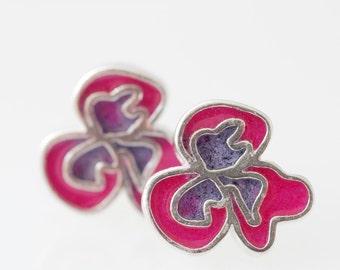 Sterling Silver  Resin Resinate Flor Stud Earrings- Pink/Violet