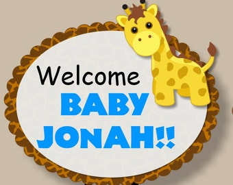 Pink or Blue Giraffe Baby Shower or Birthday Party Door Sign 3-D