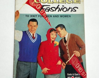 Vintage 1957 Knitting Pattern Book Coats & Clark's book no. 515 College Fashions for Men and Women