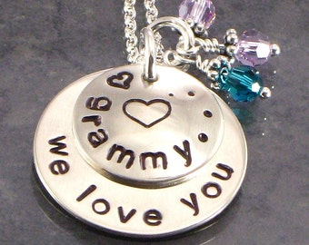 "Grammy Necklace - Hand Stamped with "" We Love You"" - Heart Pendant for Grandma - Grand kids Birthday Crystals - Grandmother for Mother's Day"
