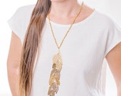 long leaf necklace,Yellow Rose Gold necklace, Long statement necklace, crochet chain