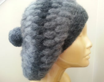 Gray crochet , slauchy hat