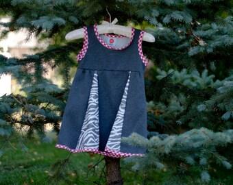 Grey sweatshirt fleece dress with zebra-print panels; girl's size 5-6