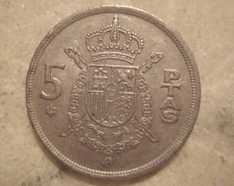 Spain 1975,  5 Pesetas  Coin - Juan Carlos I