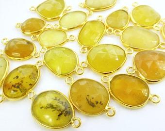 OPAL. CoNNEcTOR LiNKS. Natural Honey Yellow Opal. MeDium Size. Flat Rose Cut Polki. Vermeil. 5 pc. 20.0 cts. 12-17mm (C-Op4gold)