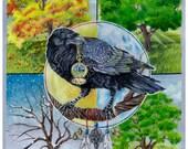 Crow Seasons Wiccan Pagan  Art Print 11 x 14