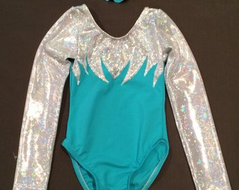 New Frozen blue aqua shiny white hologram long sleeve zig zag gymnastics dance leotard
