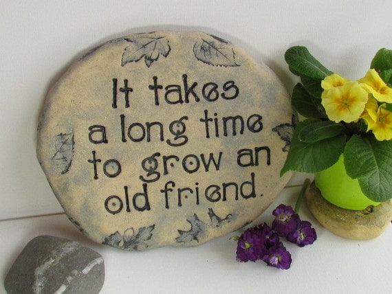 Landscape Rock Quote : Garden stone with quote friendship gift hand printed