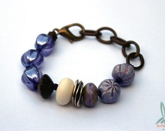 Purple melon - handmade and unique purple bracelet with artisan beads, Czech glass and wood