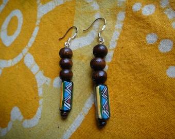 Tribal Peruvian Ceramic & Wood Beaded Earrings