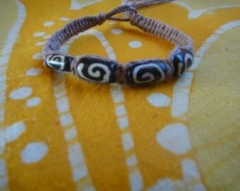 Kenyan Batik Bone Hemp Bracelet / Anklet African Trade Bead