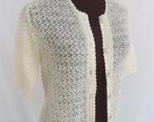 Vintage 60s Wool Cardigan Sweater Ivory Off White Cream Lightweight Open Weave Knit Elbow Length Sleeves Size S / Small