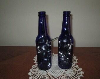 2 Blue Beer Bottle Lights, Man Cave Decor, 21st Birthday, Bar Light