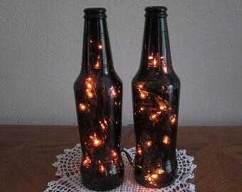 2 Dark Amber Beer Bottle Lights, Man Cave Decor, 21st Birthday, Bar light