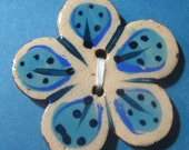 Handmade ceramic buttons -  large turquoise flower handpainted pottery button C3