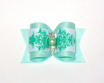 Puppy Dog Hair Bow Aqua LAST ONE