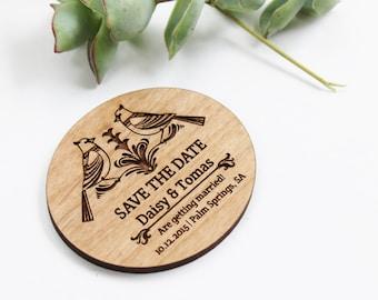 Magnet Save The Date - Alder Wood - Laser Cut Floral Bird Design