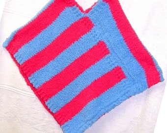 Blue & PInk Kids Poncho, Pink and Blue Poncho, Pink and Blue Fleece Poncho, Warm Pink and Blue Poncho, Warm Fleece Poncho, School Poncho