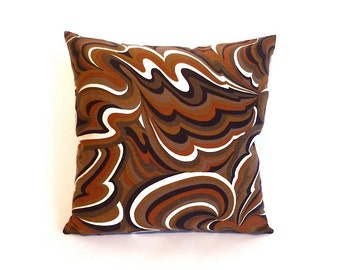 Vintage Mod Black and Brown Throw Pillow … Handmade with Vintage Fabric, 18 x 18, Square Down Pillow, Psychadelic Swirl Print, 4 AVAILABLE