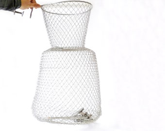 Vintage Large French Wire Mesh Fishing Basket … Fish Basket, Silver Wire, Sportsman, Outdoorsman, Outdoor Adventurer Gift, Vegetable Storage