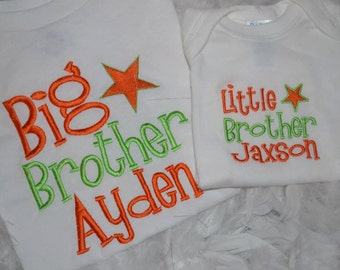 Personalized Big Brother or Little Brother embroidered t-shirt or onesie
