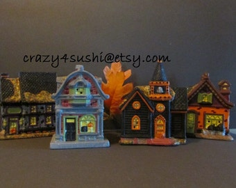 Four Halloween Village Repurposed Christmas Village Hand Painted