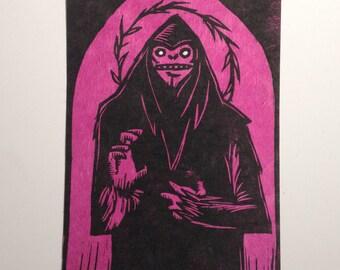 Saint Sasquatch Woodcut Print PINK