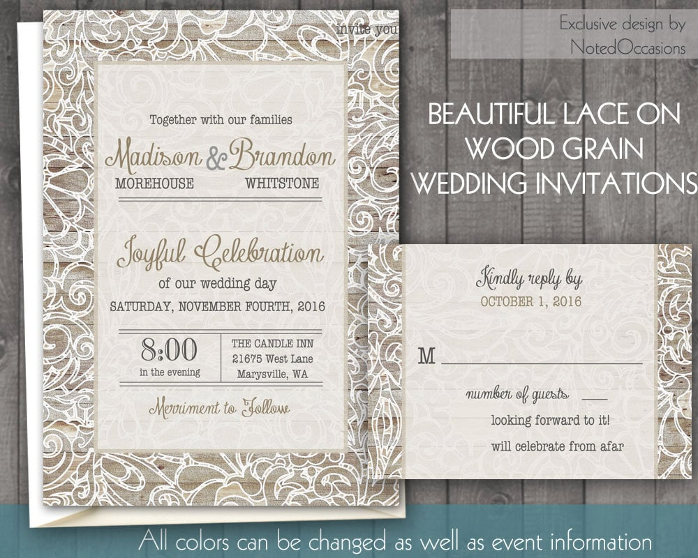 Rustic Lace Wedding Invitation Romantic Wood By NotedOccasions