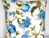 Blue and White 18 x 18 inch Jacobean Robert Allen Decorative Toss Pillow Cushion Covers