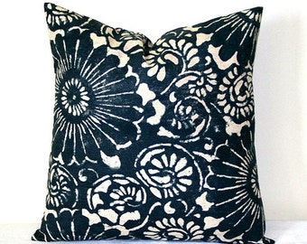 Navy Blue and Beige, Indigo Ikat Decorative Pillow, 18 x 18 inch Home Decor Throw Pillow, Cushion Cover