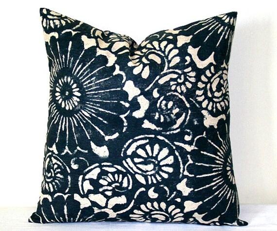 Navy Blue and Beige Indigo Ikat Decorative Pillow 18 x 18