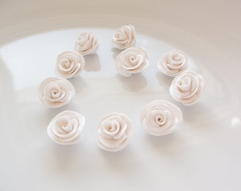 White rose beads with shimmering petals handsculpted from polymer clay