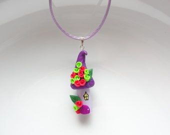 Halloween party necklace in purple, green and pink colours handmade from polymer clay
