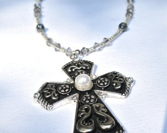 """Cross Pendant Necklace, Faith Jewelry, Goth Style, Steampunk Style, Black And White, """"Monastic Style 3"""""""