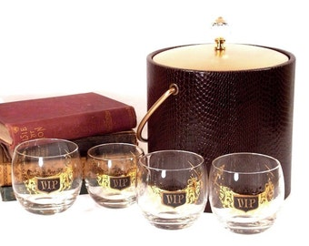 Vintage 1960s Roly Poly VIP Low ball Cocktail Glasses and a Hollywood Regency Brown with Gold Faux Alligator Reptile Ice Bucket, Instant Bar