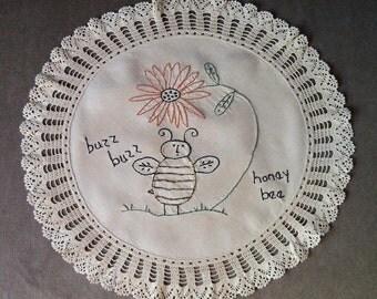 Bee Flower Simple stitchery on Vintage linen