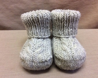 Knitted Baby Booties, Newborn Baby Shoes, Gender Neutral Baby Gift, Stay On Booties, Cabled Baby Shoes, Light Grey