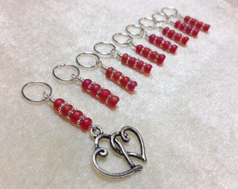 Snag Free Red Heart Stitch Marker Set - Beaded Pattern Markers - Knitting Markers - Gift for Knitters