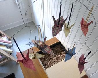 Retro Baby Boy Mobile - O'HENRY - Origami Cranes - Cranberry Tan Navy Blue
