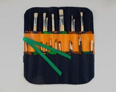 Brush case roll. Knitting needle case. Art tools. African fabric.